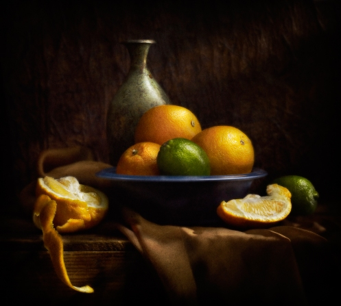 Light-painted-photograph-Still-life-of-oranges-and-limes