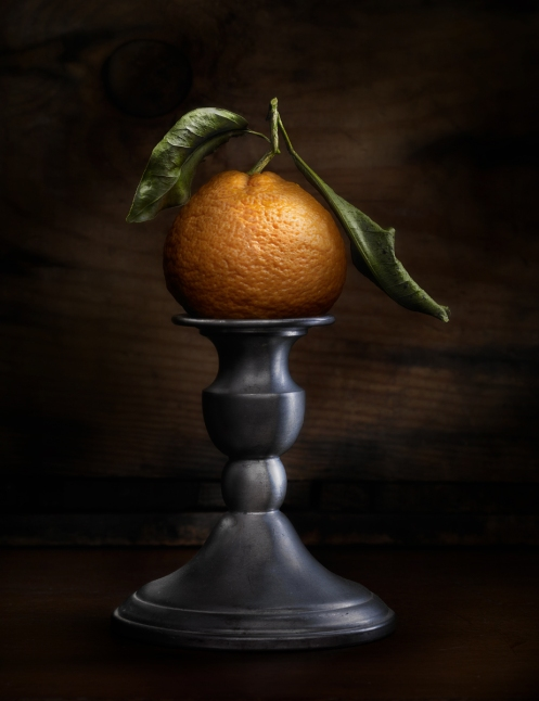 Mandarin orange still life light painted photograph by Harold Ross