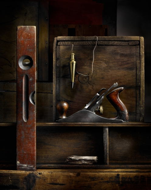 Harold Ross's Light Painted image of tools and wooden boxes for the Main Line Club