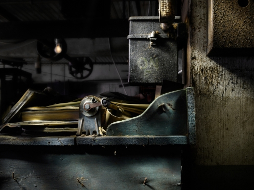 Photographer Harold Ross's light painted image of a pencil sharpener from Lanaconing Silk Mill