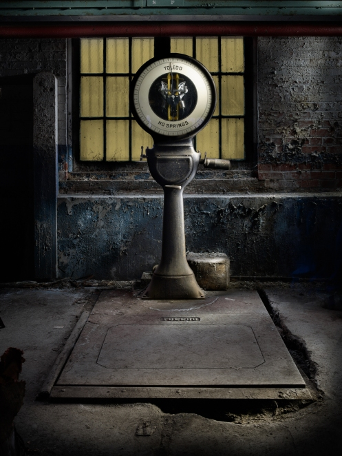 Photographer Harold Ross's light painted image of a scale from Lanaconing Silk Mill