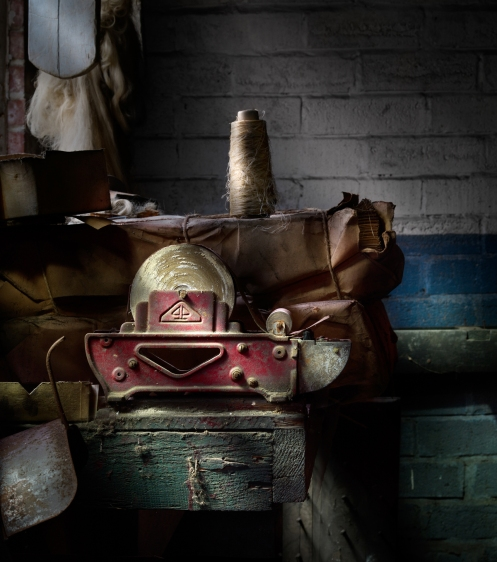 Photographer Harold Ross's light painted image of tape dispenser from Lanaconing Silk Mill