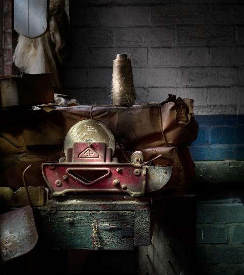 Photographer Harold Ross's light painted image of tape dispenser from Lanaconing Silk Mill