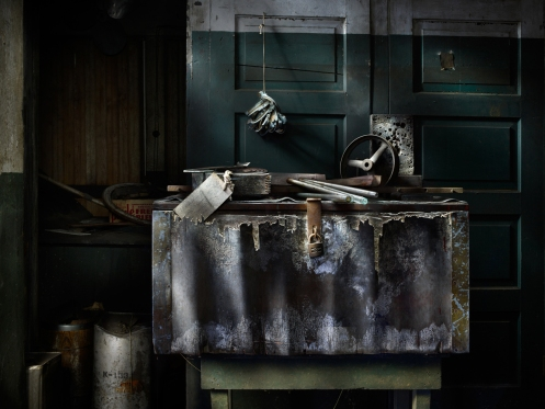 Photographer Harold Ross's light painted image of a tool box from Lanaconing Silk Mill