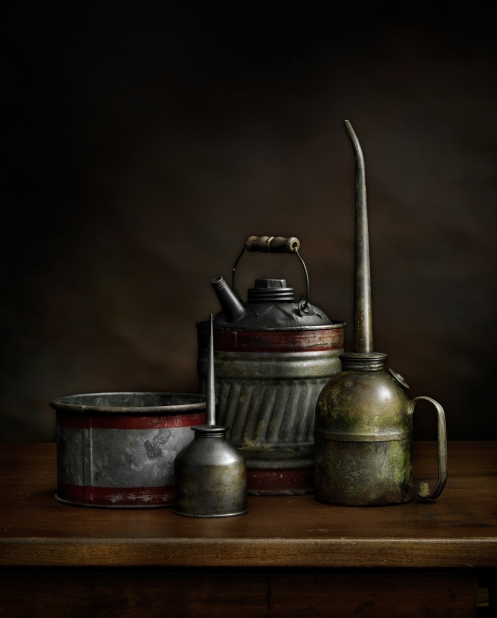"Photographer Harold Ross' light painted image ""Oil Cans #4"""