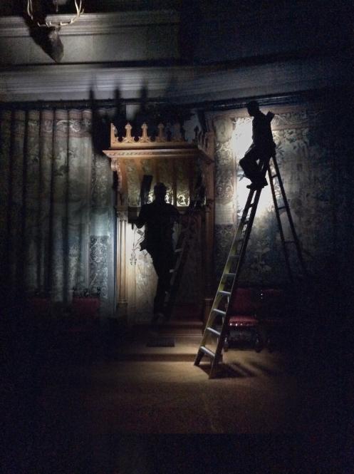 Photographer Harold Ross light painting inside the Biltmore Estate (multi exposure)