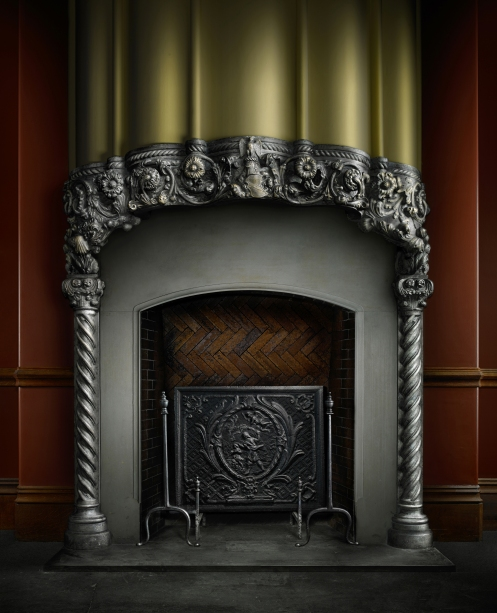 Harold Ross's light painted photograph of the Biltmore Family Fireplace