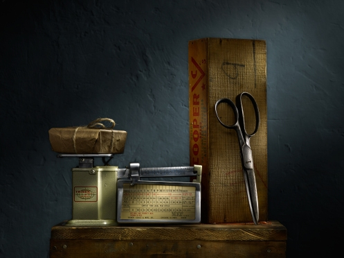 Still Life with Postage Scale and Scissors by Photographer Harold Ross