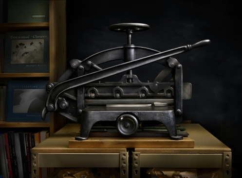Photographer Harold Ross' light painted image of the LensWork Guillotine Cutter