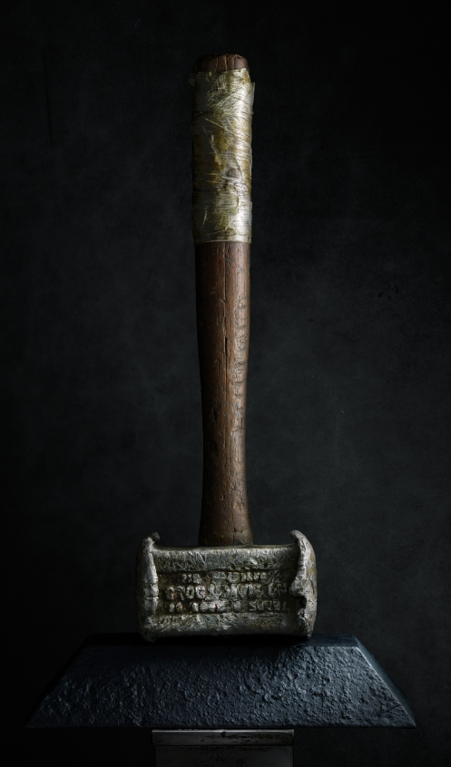 Light painting photograph of vintage hammer by Harold Ross