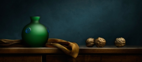 """Photographer Harold Ross' Light Painted image """"Still Life with Green Vase and Walnuts"""""""