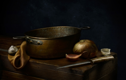 "Light Painted Image ""Still Life with Copper Pot"" by photographer Harold Ross"
