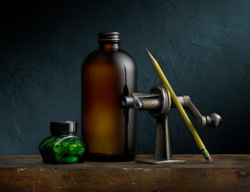 Photographer Harold Ross' Light Painted Image Still Life with Pencil Sharpener and Bottle