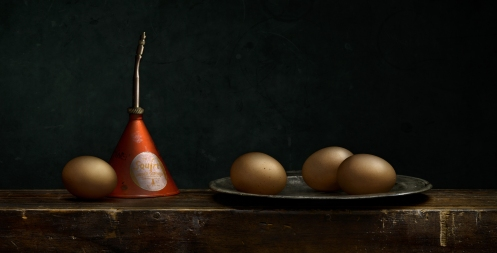 "Light Painted Photograph ""Still Life With Eggs"" by Photographer Harold Ross"