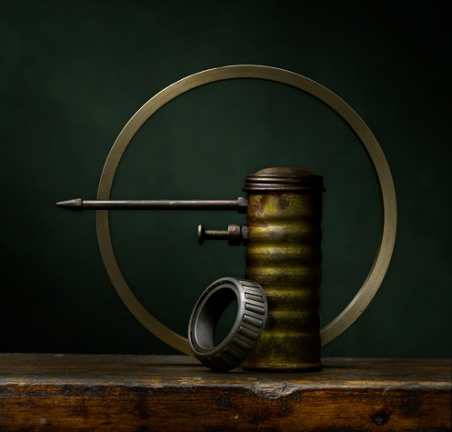 "Photographer Harold Ross' Light Painted Image ""Still Life With Oil Can and Brass Ring"""