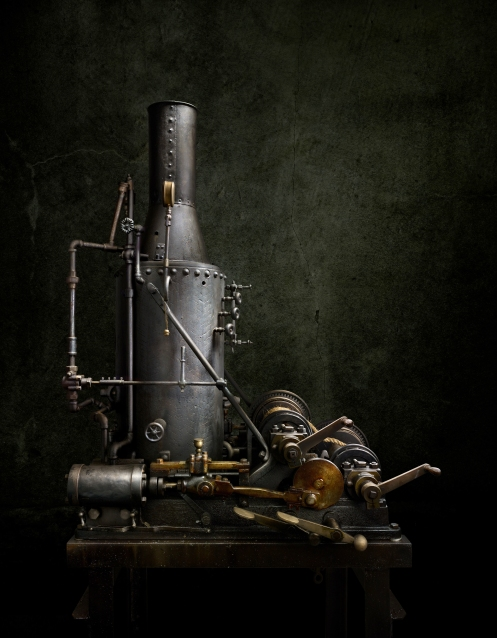 Photographer Harold Ross' light painted image Steam Powered Winch