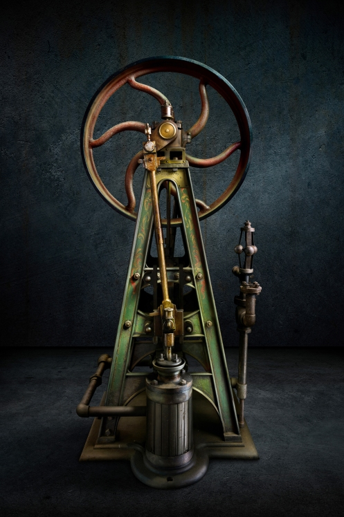 Photographer Harold Ross' light painted image A-Frame Steam Powered Pump
