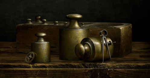 Photographer Harold Ross' Light Painted Image, Brass Scale Weights from Italy