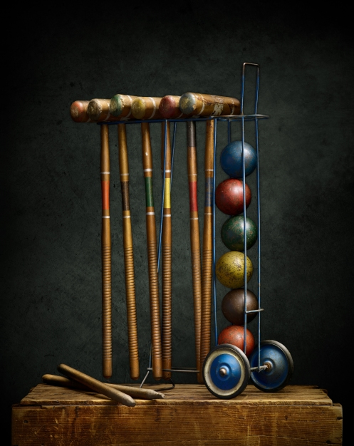 Light Painted photograph of croquet set by photographer Harold Ross