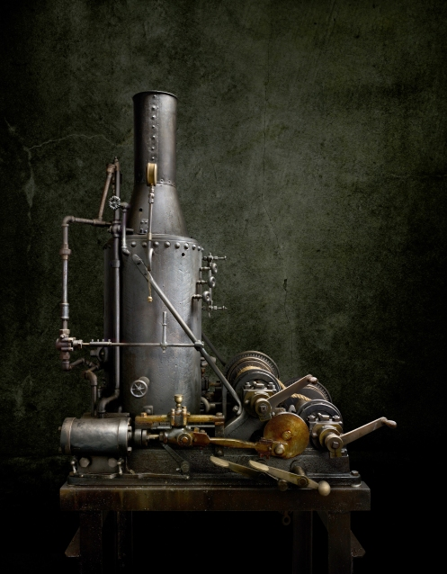 "Light Painting Photographer Harold Ross's Light Painted Photograph ""Steam Engine Hoist"""