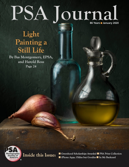 "Light Painting Photographer Harold Ross' Light Painting image ""Still Life with Olive Oil and Shallots"" January 2020 PSA Journal"
