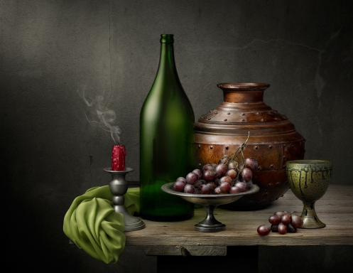 "Light Painted Photograph ""Still Life with Copper Vessel"" by Harold Ross"