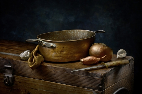 "Light Painted Photograph ""Still Life with Copper Pot"" by Harold Ross"