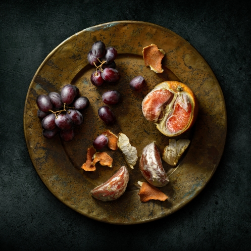 "Light Painted image ""Still Life with Blood Oranges and Grapes"" by Photographer Harold Ross"