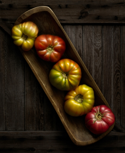 "Light Painted Photograph ""Heirloom Tomatoes"" by Photographer Harold Ross"