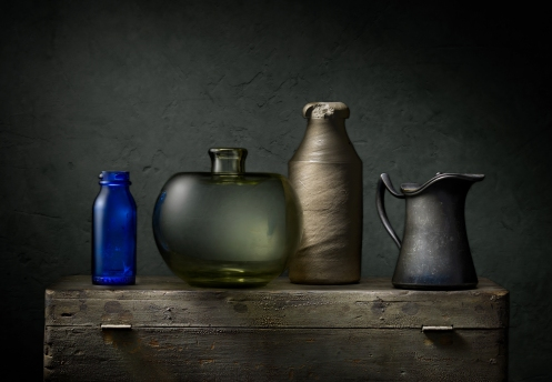 "Light Painted Photograph ""Still Life with Green Bottle"" by Photographer Harold Ross"