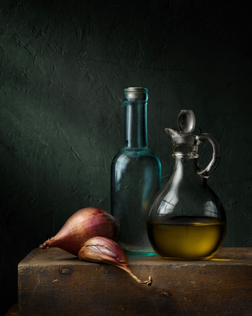 "Light Painted Photograph ""Still Life with Olive Oil"" by Photographer Harold Ross"