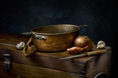 """Light Painted Image """"Still Life with Copper Pot"""" by Photographer Harold Ross"""