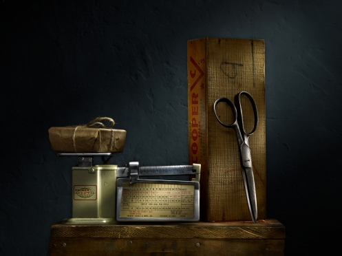 """Light Painted Image """"Still Life with Postage Scale and Scissors"""" by Photographer Harold Ross"""