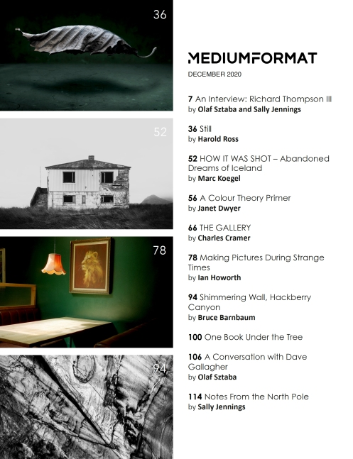 Medium Format Magazine December 2020 Issue Table of Contents with an article by Light Painting Photographer Harold Ross