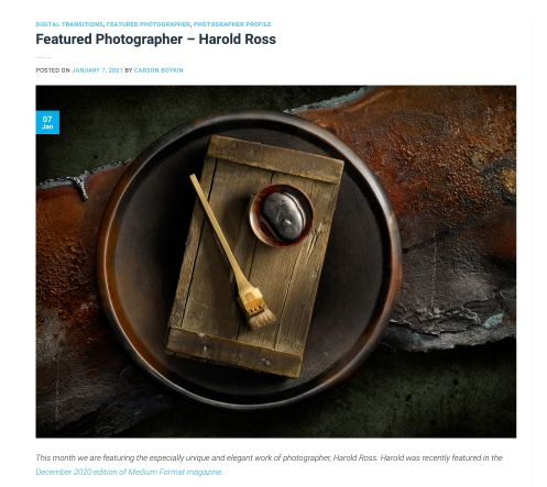 Light Painting Photographer Harold Ross Featured in Digital Transitions